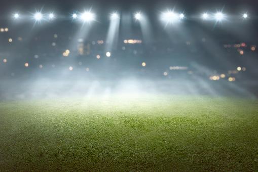 Soccer field with blur spotlight 931040236