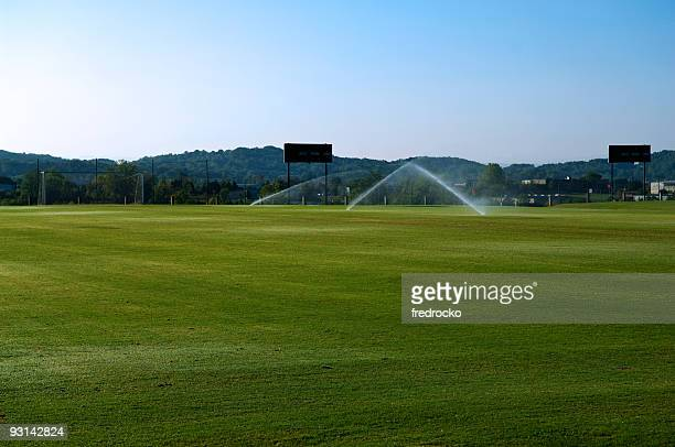 soccer field with soccer goal at park - cricket pitch stock pictures, royalty-free photos & images