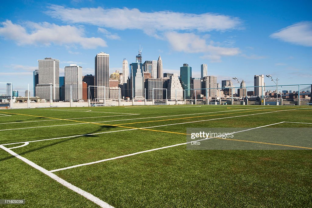 Soccer fields and Lower Manhattan skyline, New York City, USA : Stock Photo