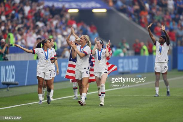 Women's World Cup Final: USA Lindsey Horan and Rose Lavelle victorious after winning game vs Netherlands at Parc Olympique Lyonnais....