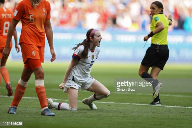 Women's World Cup Final: USA Rose Lavelle victorious after scoring goal and winning game vs Netherlands at Parc Olympique Lyonnais. Décines-Charpieu,...