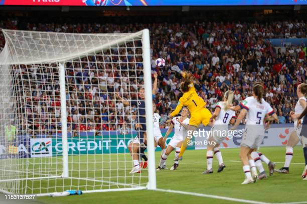 FIFA Women's World Cup Rear view of USA goalkeeper Alyssa Naeher in action vs France Amandine Henry during Quarterfinals at Parc des Princes Paris...