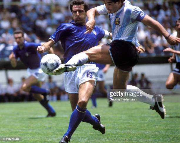 World Cup: Argentina Diego Maradona in action during First Round action against Italy during a match at Estadio Cuauhtemoc. Puebla, Mexico 6/5/1986...