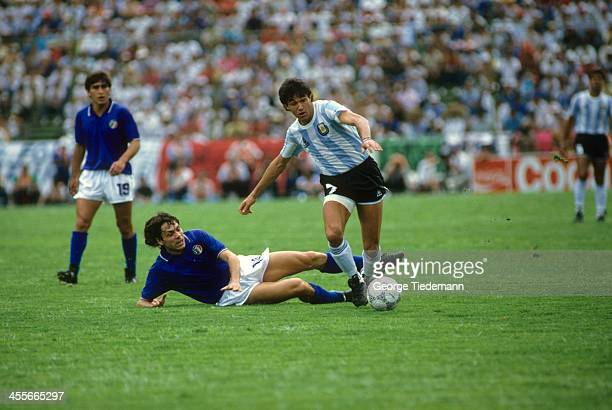 FIFA World Cup Argentina Jorge Burruchuga in action vs Italy during First Round match at Estadio Cuauhtemoc Puebla Mexico 6/8/1986 CREDIT George...