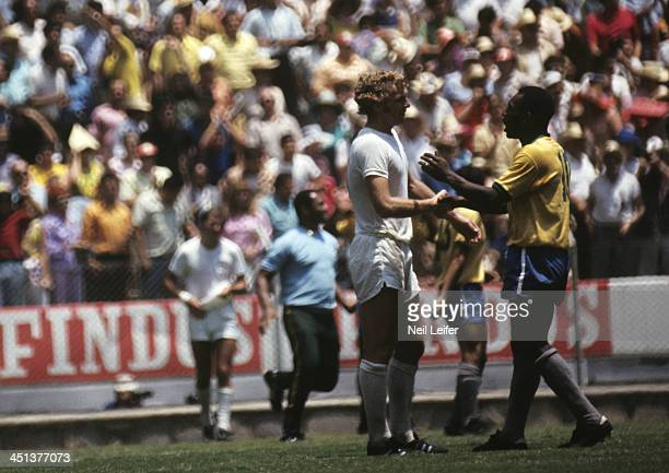 FIFA World Cup Brazil Pele speaks to England captain Bobby Moore after winning Group 3 match at Estadio Jalisco Guadalajara Mexico 6/7/1970 CREDIT...