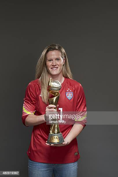 FIFA World Cup Champions Portrait of US Women's National Team goalie Alyssa Naeher holding trophy during photo shoot at ABC News' Good Morning...