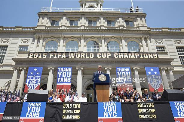 FIFA World Cup Championship Ceremony New York City mayor Bill de Blasio on stage during Victory Ceremony at City Hall New York NY CREDIT Anthony Causi