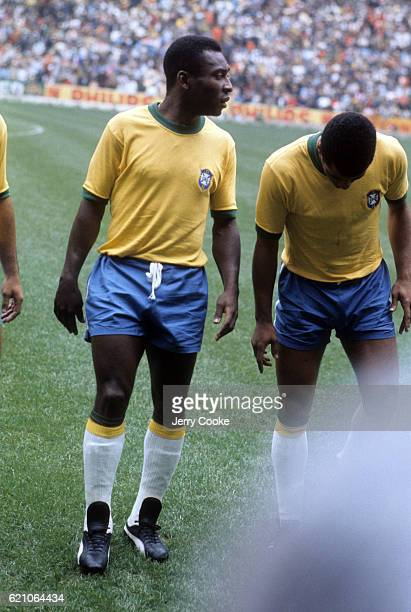 FIFA World Cup Final Brazil Pele during team introductions before the game at Azteca Stadium Mexico City Mexico 6/21/1970 CREDIT Jerry Cooke