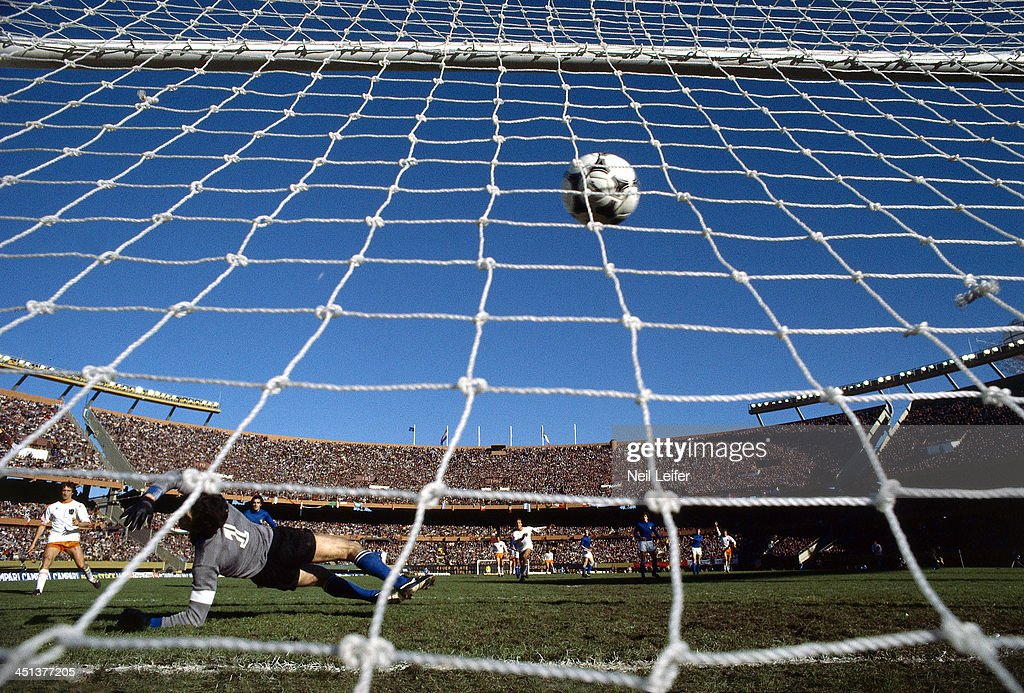 Italy goalie Dino Zoff (1) in action, yielding goal vs Netherlands Arie Haan (9) during 75th minute of Second Round - Group A match at Estadio Monumental. Haan (far R) scores the game winning goal. Neil Leifer TC14865 TK11 )