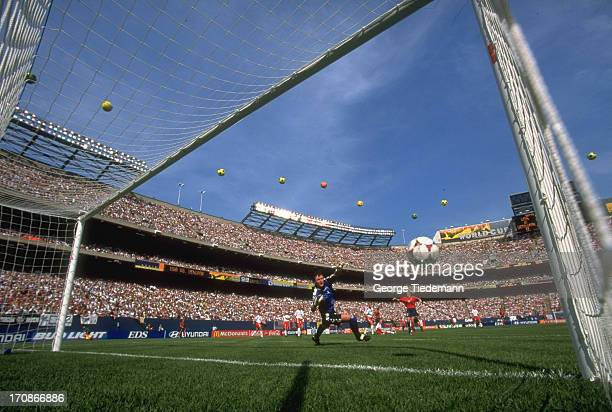 FIFA World Cup Overall view of USA Kristine Lilly in action scoring goal vs Denmark goalie Dorthe Larsen during Group Stage match at Giants Stadium...
