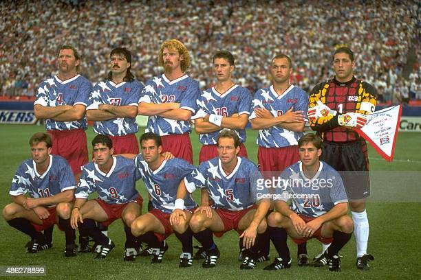 FIFA World Cup Portrait of Team USA posing for group photo before Group Stage A match vs Switzerland at Pontiac Silverdome Cle Kooiman Marcelo Balboa...