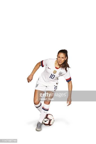 FIFA World Cup Preview Portrait of US Women's National Team forward Carli Lloyd posing during photo shoot at Hotel Valencia San Jose CA CREDIT Robert...