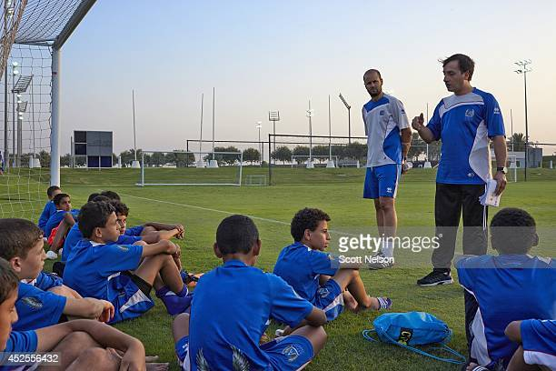FIFA World Cup Preview View of Aspire Academy coaches speaking to students during practice at Aspire Zone campus Aspire an educational sports academy...