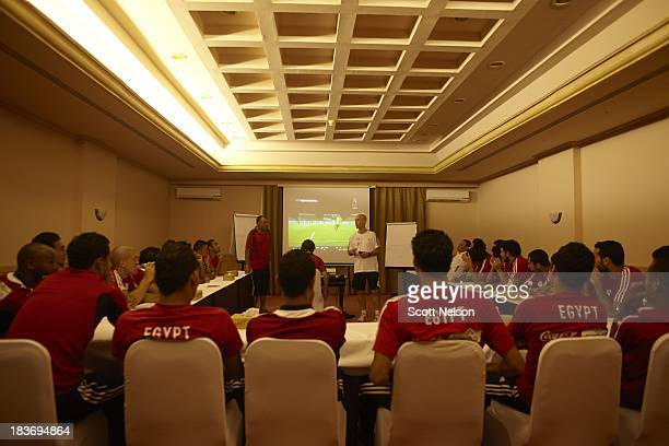 FIFA World Cup Qualification Egypt coach Bob Bradley speaks to his team the night before their CAF Second Round Group G match vs Guinea at Moevenpick...