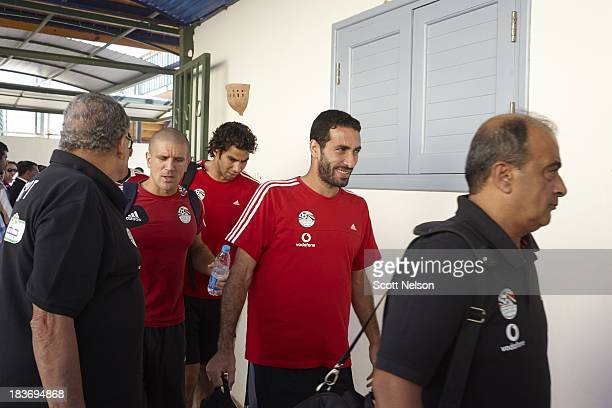 FIFA World Cup Qualification Egypt midfielder Mohamed Aboutrika arrives with his team and walks to the home team locker room before their CAF Second...
