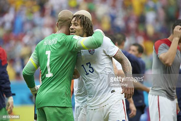 World Cup: USA goalie Tim Howard and Jermaine Jones victorious after advancing to Round of 16 after losing Group Stage - Group G match vs Germany at...