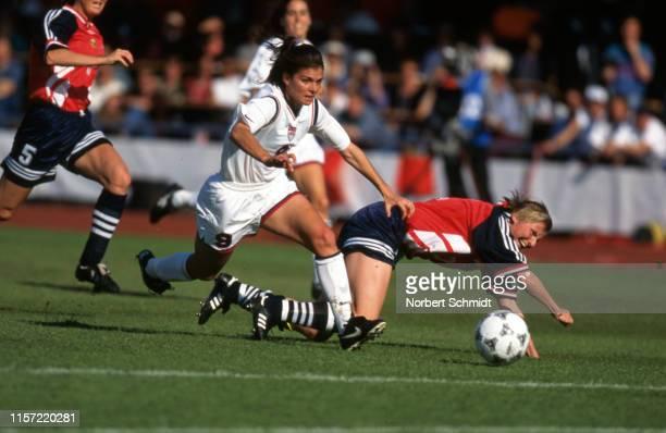 FIFA World Cup USA Mia Hamm in action during Semifinals match vs Norway at Arosvallen stadium Vasteras Sweden 6/15/1995 CREDIT Norbert Schmidt