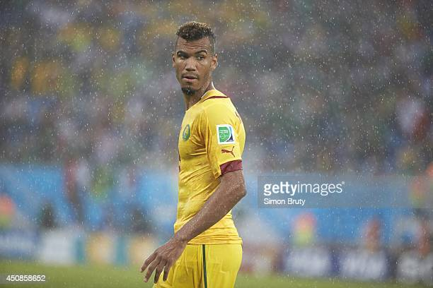 World Cup: View of Cameroon Eric Choupo Moting during Group Stage - Group Amatch vs Mexico at Estadio das Dunas. Rain, weather. Natal, Brazil...