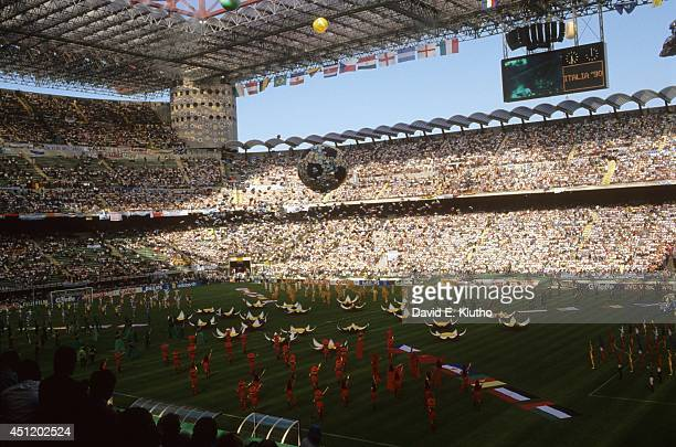 World Cup: View of performers with flags during Opening Ceremony at Stadio Giuseppe Meazza. Milan, Italy 6/8/1990 CREDIT: David E. Klutho