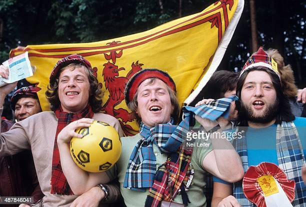 FIFA World Cup View of Scotland fans before First Round Group 2 game vs Brazil at Waldstadion Frankfurt West Germany 6/18/1974 CREDIT Neil Leifer