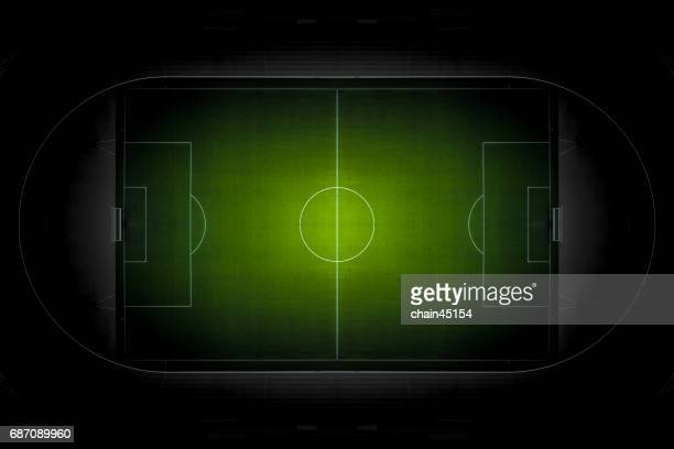 soccer football field from top view. - voetbalveld stockfoto's en -beelden