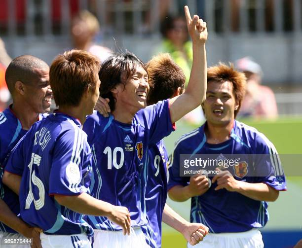 Soccer Football International 2006 FIFA World Cup June 12th 2006 Preliminary Round Australia Japan Shunsuke Nakamura Takashi Fukunishi Press photo...