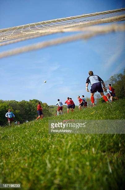 Soccer Football Team Viewed from the Goal