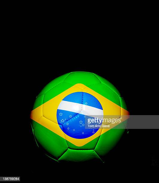 Soccer football with Brazilian flag on it