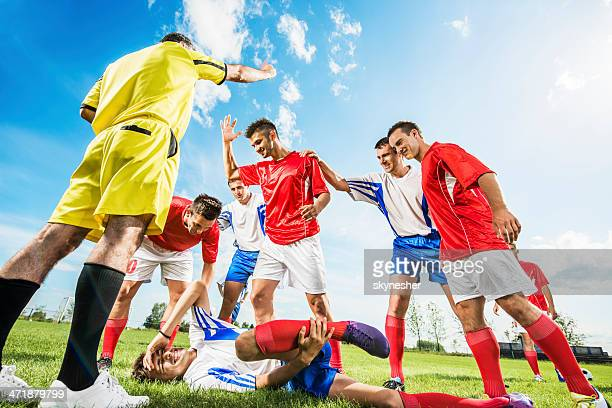 soccer foul. - foul sports stock pictures, royalty-free photos & images