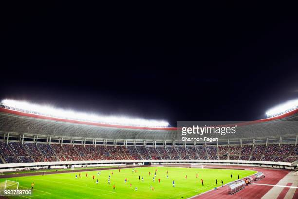 soccer game in a stadium at night - match sport stock pictures, royalty-free photos & images