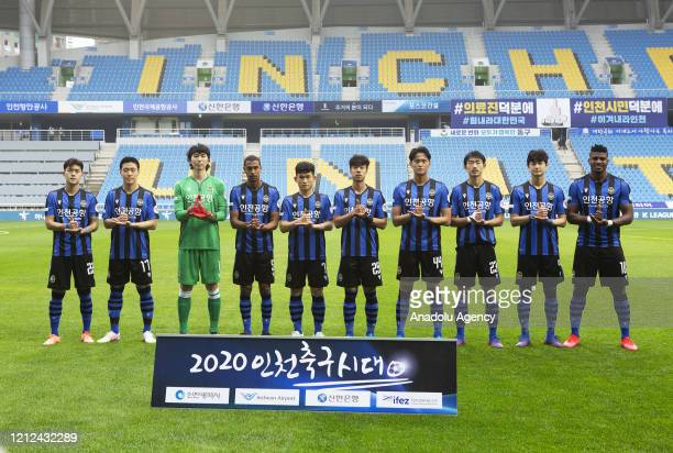 A soccer game is taking place at Incheon Football Stadium in Korea without spectators due to Covid19 on May 9 2020 in Incheon South Korea