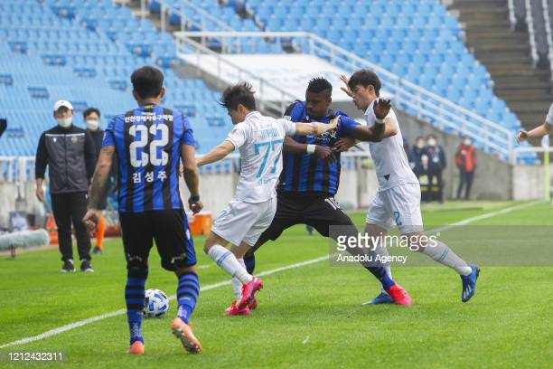 Soccer game is taking place at Incheon Football Stadium in Korea, without spectators due to Covid-19 on May 9, 2020 in Incheon, South Korea.