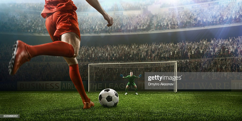 Jogo de futebol momento com goleiro : Foto de stock