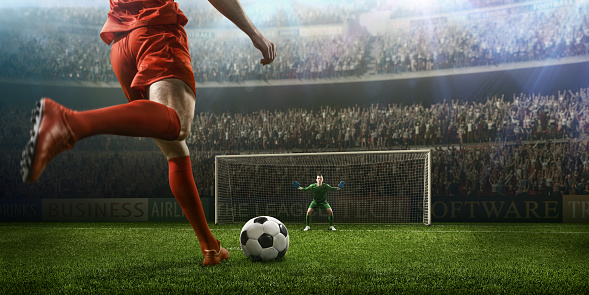 Soccer game moment with goalkeeper 505988052