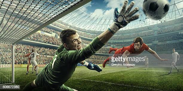 Jogo momento com guarda-redes de futebol
