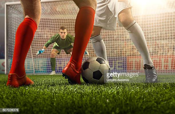 soccer game moment with goalkeeper - football league stock pictures, royalty-free photos & images