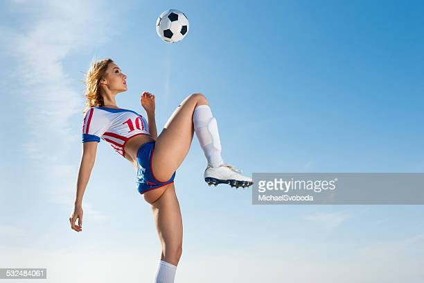 soccer girl - football strip stock pictures, royalty-free photos & images