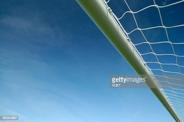Soccer goal crossbar with blue sky