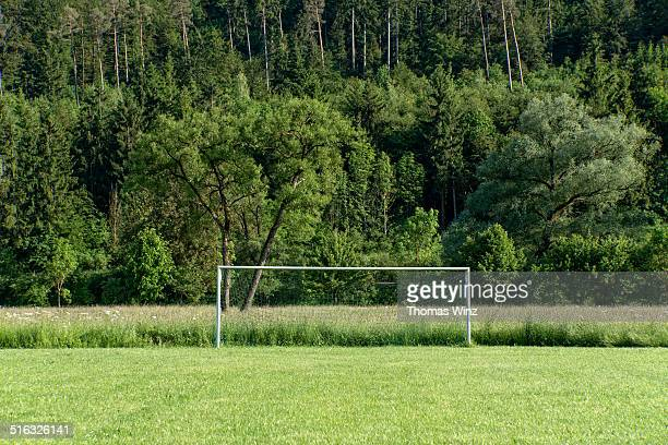Soccer goal in a field in the country side