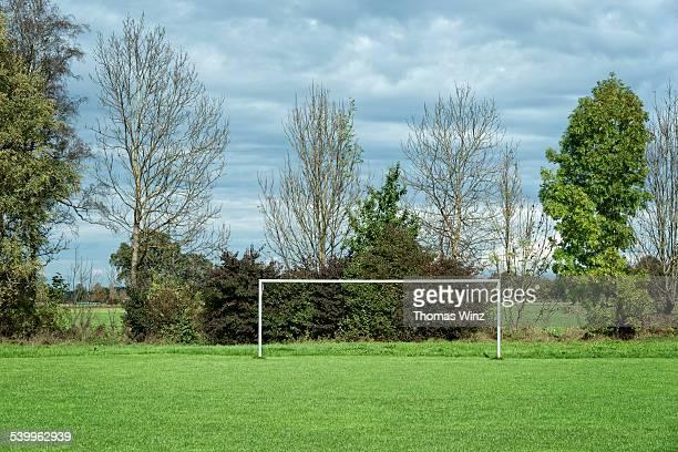 Soccer goal in a field