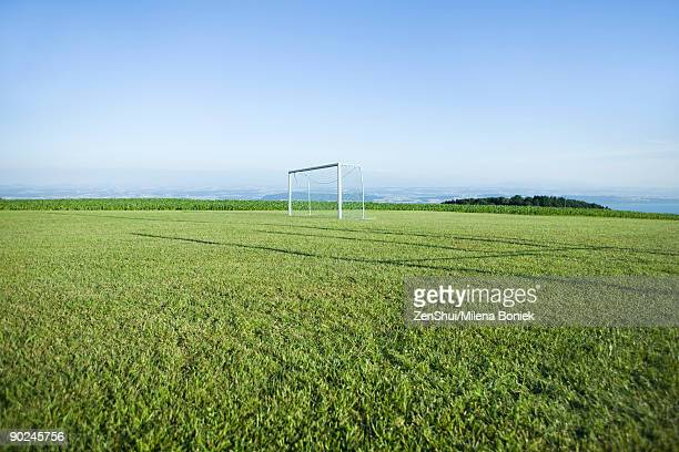 Soccer goal in empty field