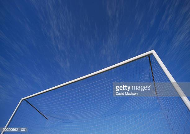 soccer goal net against blue sky, low angle view - goal post stock pictures, royalty-free photos & images