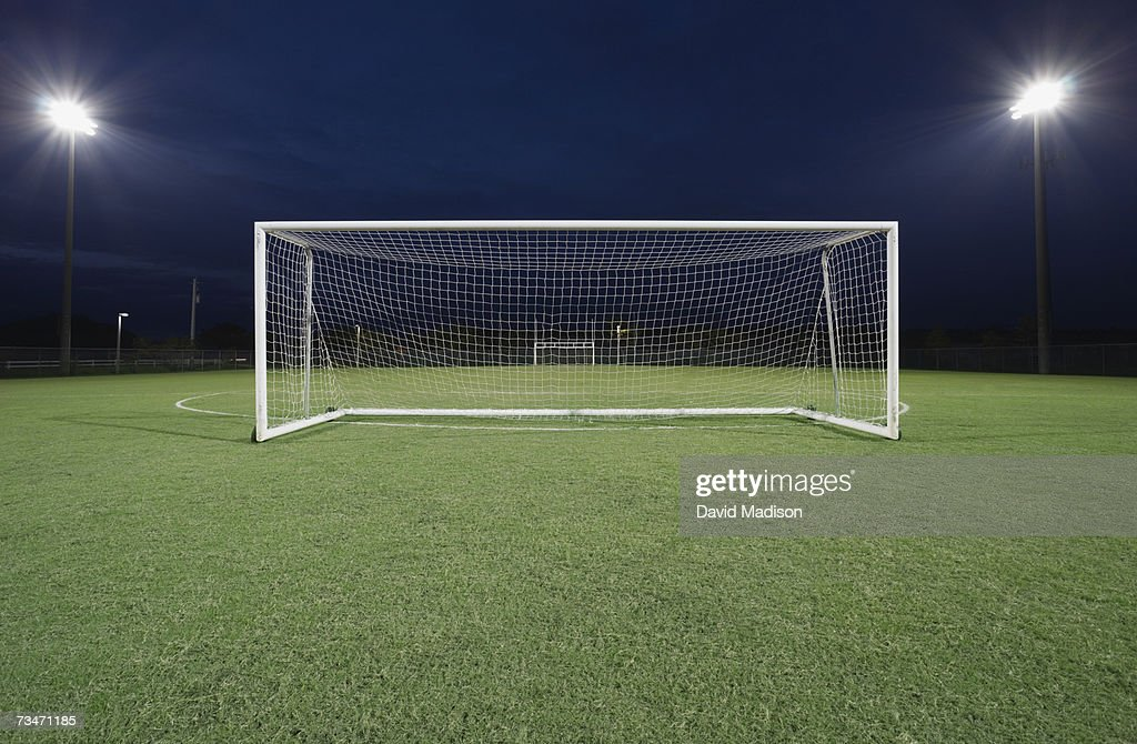 Soccer goal stock photos and pictures getty images soccer goal on field at night reheart Images