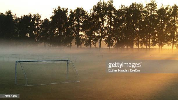Soccer Goal On Field During Foggy Weather