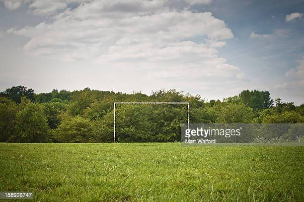 soccer goal on grassy pitch - voetbalveld stockfoto's en -beelden