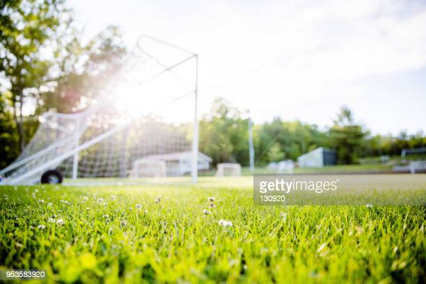Soccer goal under the sunlight