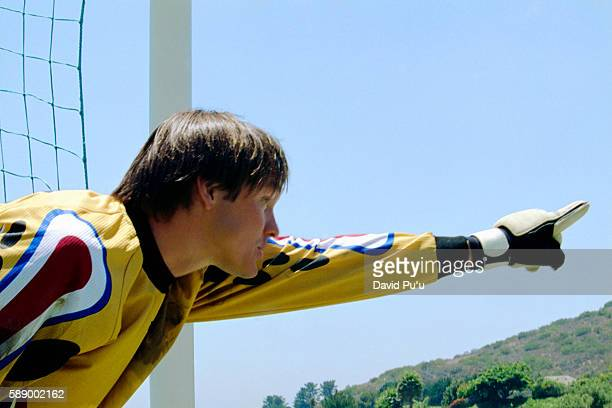 Soccer Goalie Pointing Downfield