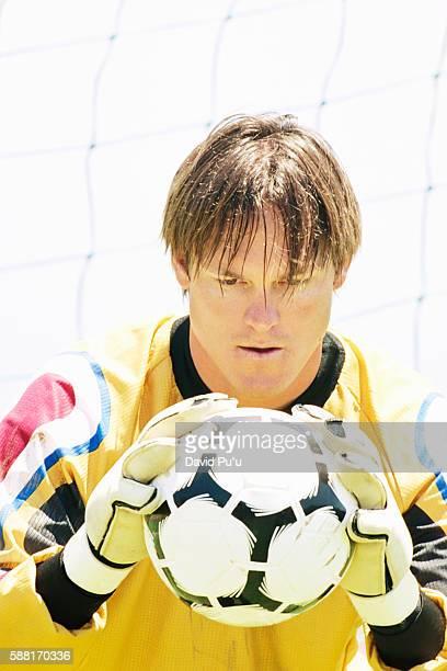 Soccer Goalie Staring at Ball