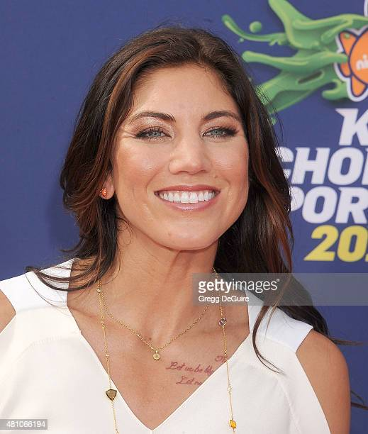 USA soccer goalkeeper Hope Solo arrives at the Nickelodeon Kids' Choice Sports Awards 2015 at UCLA's Pauley Pavilion on July 16 2015 in Westwood...