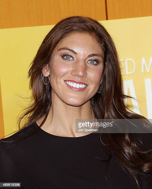 Soccer goalkeeper Hope Solo attend the He Named Me Malala New York premiere at the Ziegfeld Theater on September 24 2015 in New York City